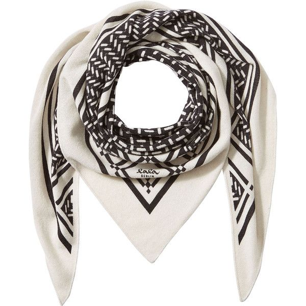 Lala Berlin Printed Cashmere Scarf (418 AUD) ❤ liked on Polyvore featuring accessories, scarves, white, cashmere scarves, cashmere shawl, lala berlin, white scarves and white shawl