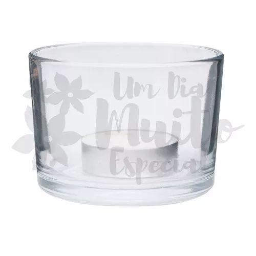 100 porta vela vidro redondo com velas rechaud castiçal pote