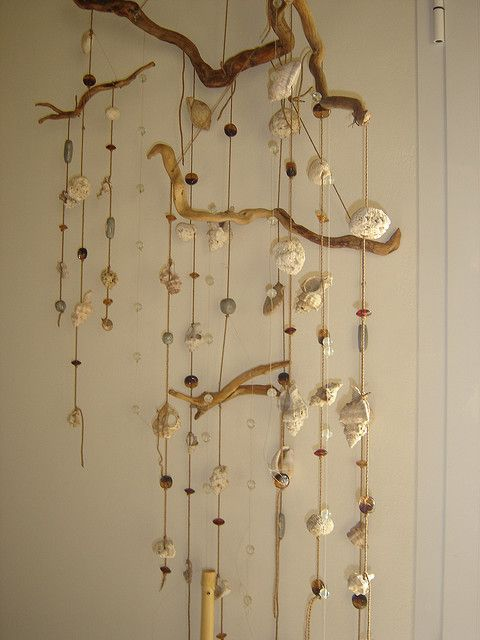 Shell and driftwood mobile. This is what I always intend to do with my grand daughter's treasures , but ...