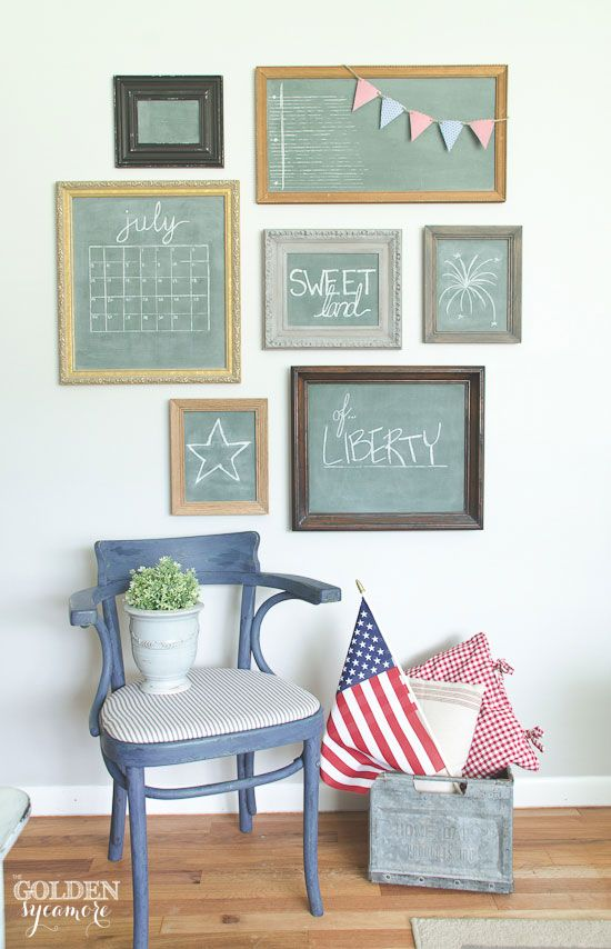 This years' patriotic decor is kept simple with vintage chalkboards, an updated blue flea market chair, and red pillows. And of course, an American flag!