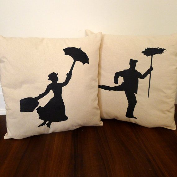 Mary Poppins Pillow Set FREE SHIPPING by KatieScarlettCo on Etsy, $42.50  My heart hurt these are so good.