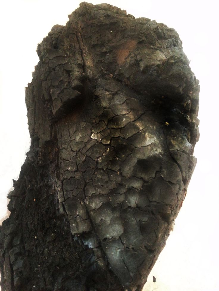 In the Morning, sculpture charred wood by Pirjo Pesonen exhibition Pillow Talk