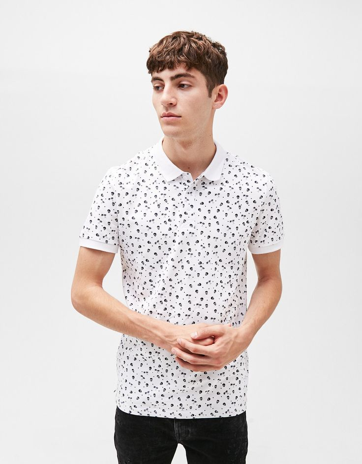Printed polo shirt. Discover this and many more items in Bershka with new products every week