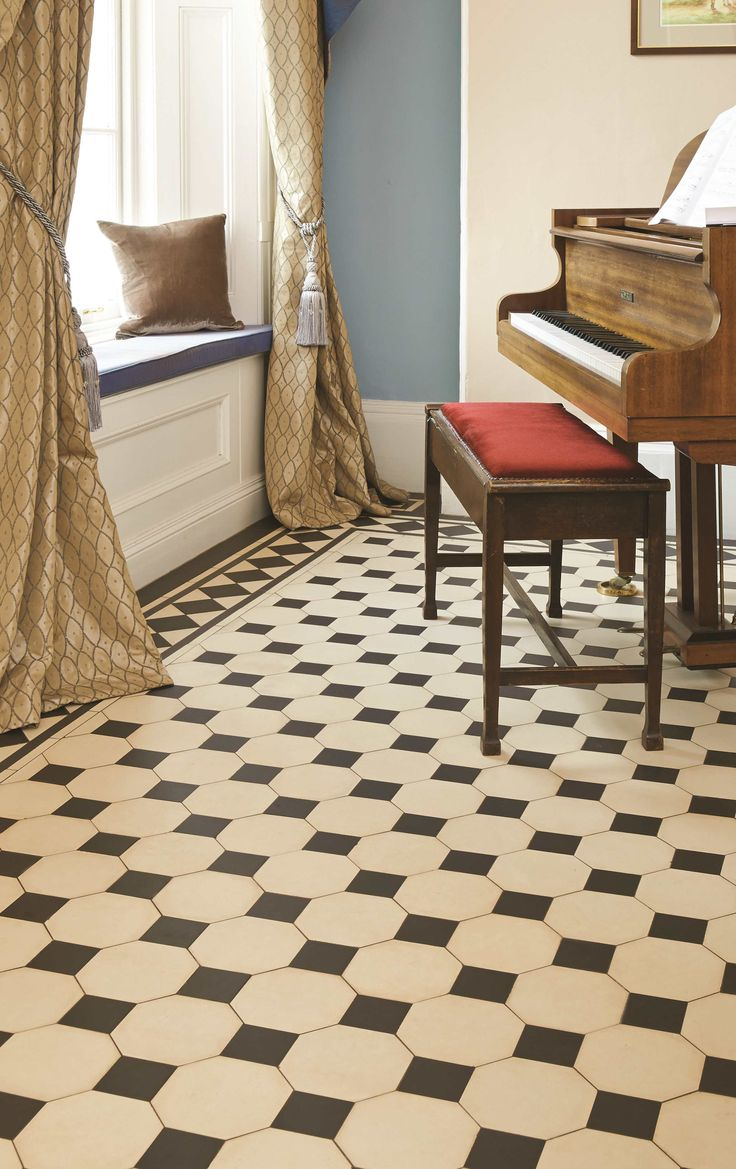 Shown here is the Chesterfield pattern in classic Black & White, looking effortlessly sophisticated. New colours, patterns and shapes means our geometric Victorian style floor tiles look great in traditional and contemporary homes. originalstyle.com