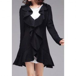 $26.80 Vintage Slimming Long Sleeve Women's Black Ruffle Coat