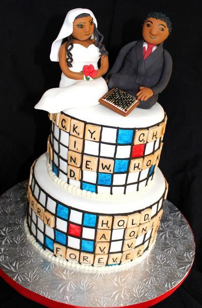 wedding cake theme ideas two tier scrabble theme wedding cake with and groom 26252
