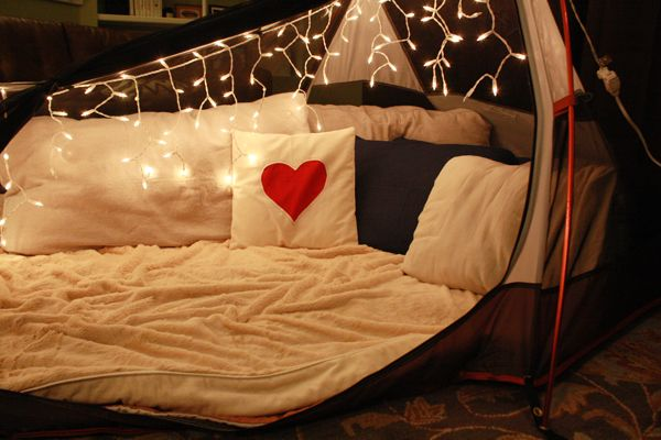 camping in the living room :)  Valentine's Day