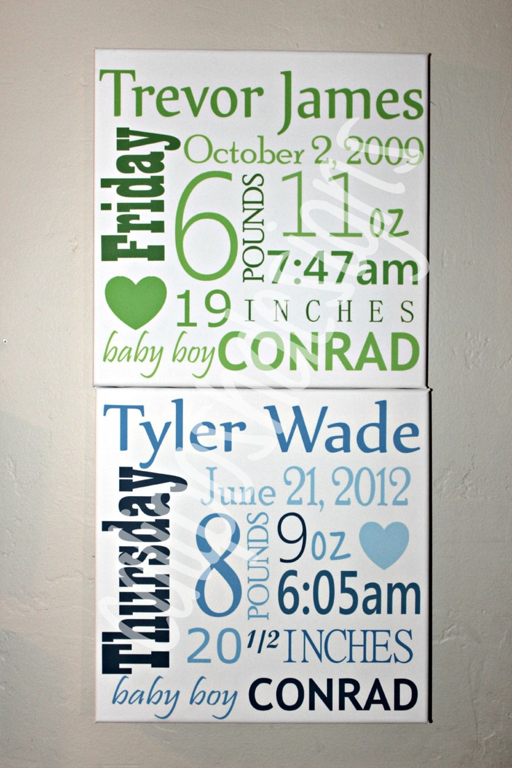 Subway Art Nursery Wall Art Birth Announcement Details Wall Canvas. $45.00, via Etsy.