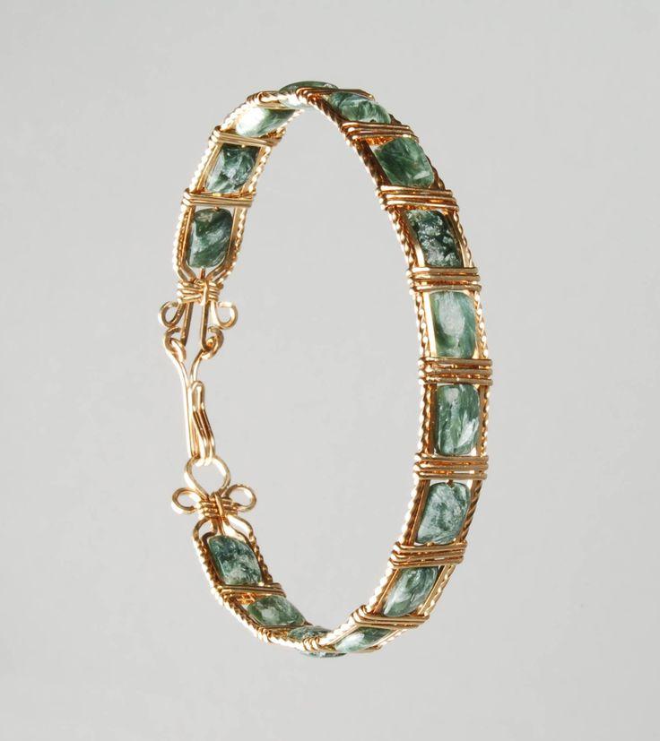 wire jewelry | Gold Filled Wire Wrapped Cuff bracelet with 4mm Swarovski Cube ...