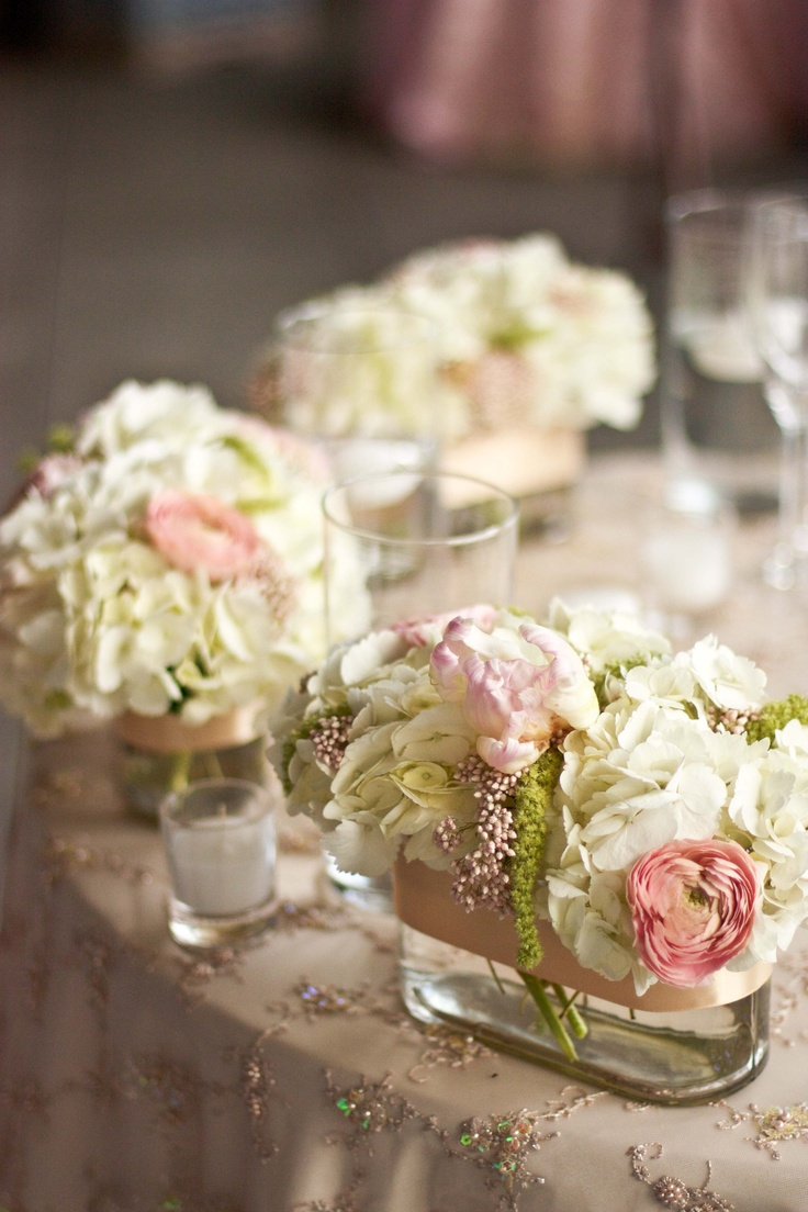 Tablescape pink blush centerpieces wedding centerpieces for Small flower decorations for tables