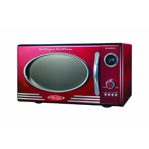 Sleek Retro Styled Microwave Oven Its Oval Window And
