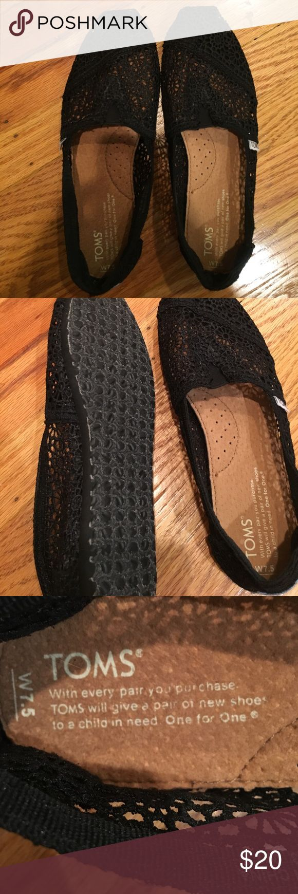 Lace black toms Woman's size 7.5 black lace toms. Worn maybe once but they're in great condition and practically new. I'm open to offers! Toms Shoes Flats & Loafers