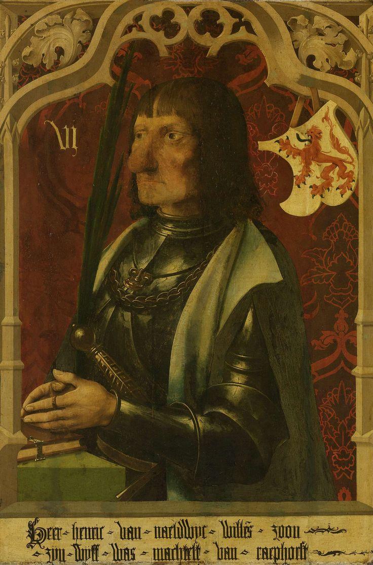 Anonymous | Portrait of Hendrik IV of Naaldwijk, Knight and Hereditary Marshall of Holland, Anonymous, c. 1500 - c. 1506 | Portret van Hendrik IV van Naaldwijk (c.1430-96), ridder en erfmaarschalk van Holland. Knielend in wapenrusting , voor zich een boek. Rechtsboven het familiewapen. Onderdeel van een reeks van zes, waarvan drie tot 1935 in bruikleen in het Rijksmuseum waren.