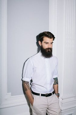 rolled up sleeves, white shirt. #uniform #menswear