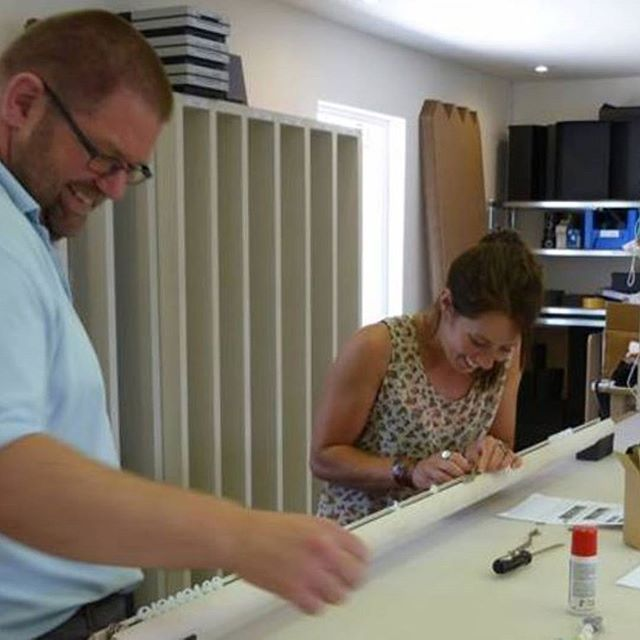 Neil planning a holiday....Oh no! Quick lesson in wrapping and tracking poles then Laura! #itsabreeze    #walcothouse #curtainpoles #handwrapped