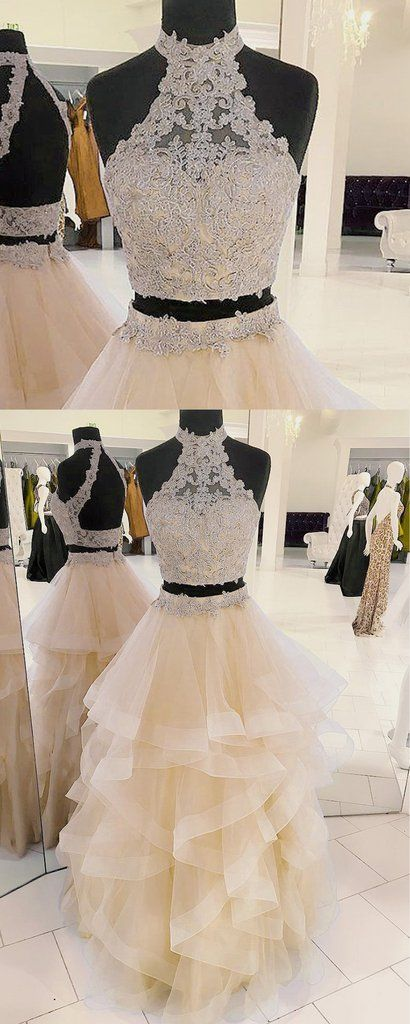 Champagne organza strapless two pieces long prom dress, long lace ruffles evening dress #prom #dress #promdress #promdresses