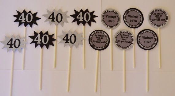 18 toppers 40th Birthday Cupcake Toppers by KhoshtinatDesigns, $20.50