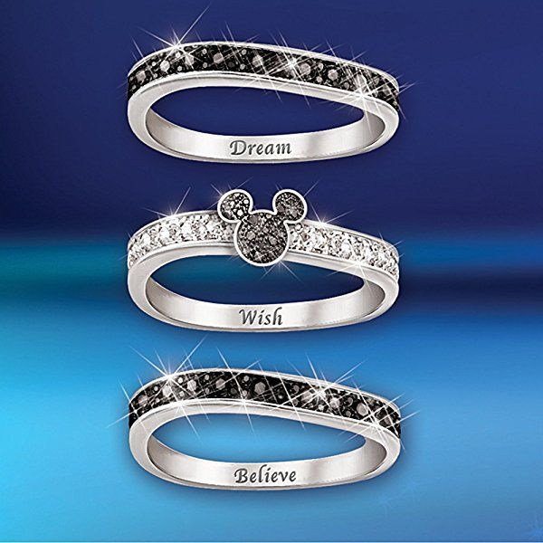 "The ""Mickey Hidden Message"" Engraved Women's Three Band Ring by The Bradford Exchange"