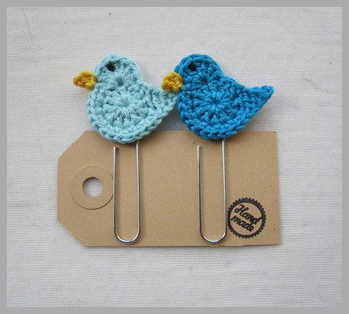 Crocheted Paperclip/bookmark birds blue by MaakHetFF on Etsy, €2.25