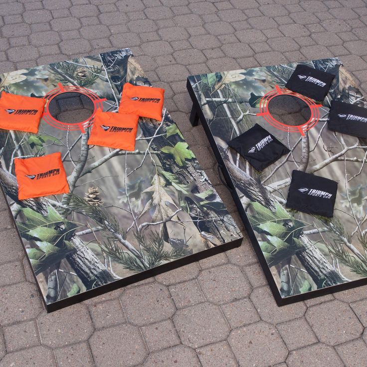 Escalade Sports Realtree Camo Cornhole Set - When hunters aren't silently glassing the horizon from their tree stand they're laughing it up back at the cabin over a competitive game of ba...