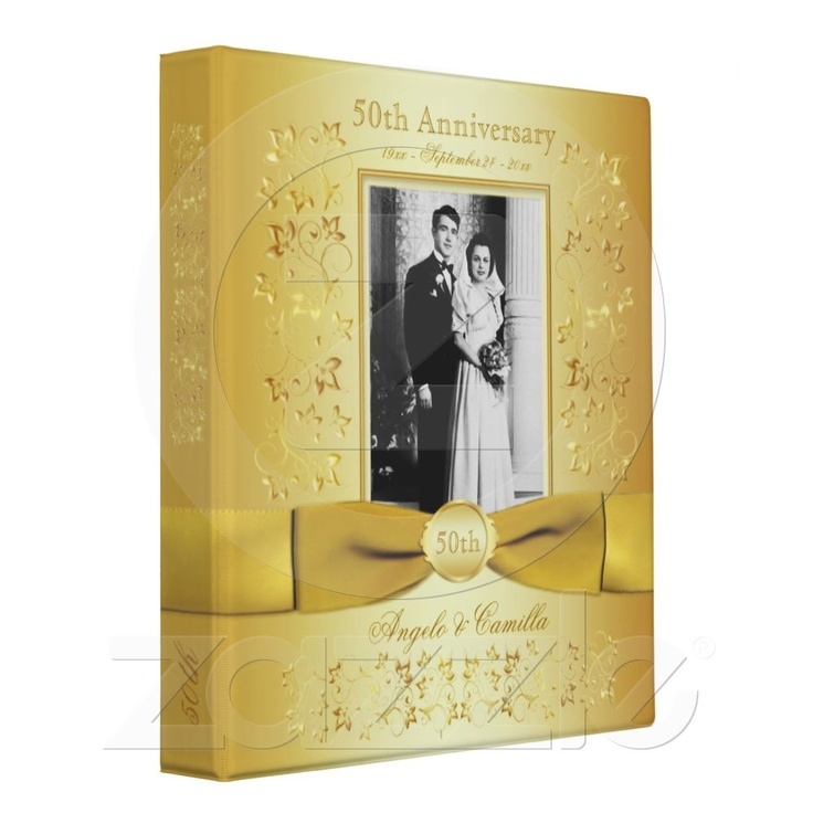 Gold 50th Wedding Anniversary Binder with Photo