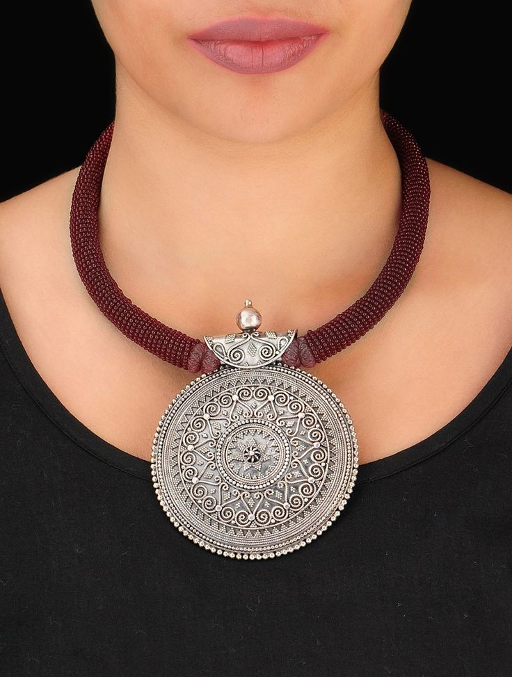 Buy Silver Maroon Ethno Bold Necklace 92.5% Sterling Cotton Thread Beads Jewelry Anatomy Intricately Handcrafted Online at Jaypore.com