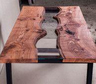 Стол На колесах - обеденный стол в стиле Река из дерева и стекла