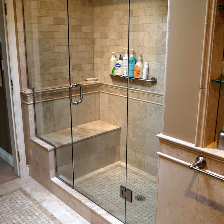This shower stands out in a simply furnished bath, thanks to its distinctively tiled walls and river-rock-tiled floor that are easily seen through a frameless glass shower enclosure. Description from pinterest.com. I searched for this on bing.com/images