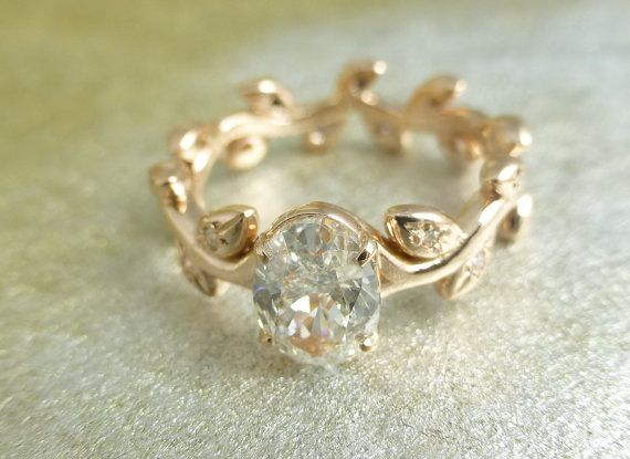 Floral engagement ring. 14k yellow gold.  Natural organic ring.  White sapphire ring. on Etsy, $1,500.00