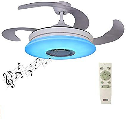 modern retractable blades ceiling fan with light and remote 36w rh pinterest com