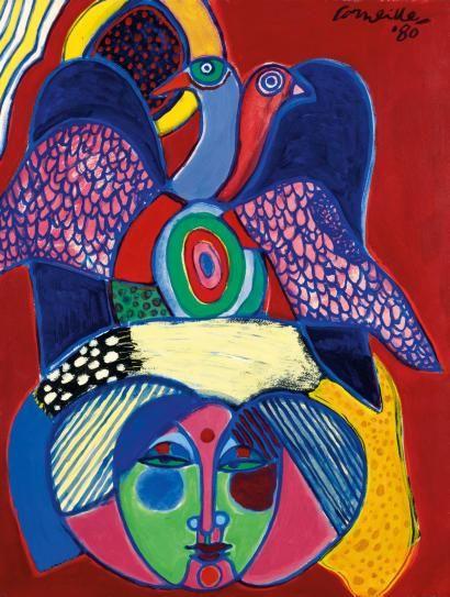 CORNEILLE SANS TITRE, 1980 Acrylique sur papier marouflé sur