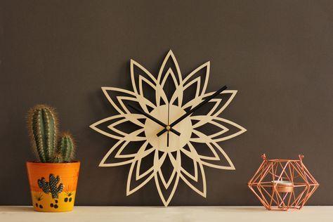 Wall clock / Retro wall clock / Sunburst clock / Mid century modern clock / Art deco clock / Clock wall art / Decorative clock / Sun decor by SnazzyNestShop on Etsy #wood #midcentury #christmasgifts #lasercut