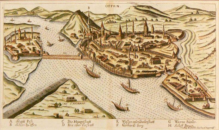 The two old parts of Budapest.     ------- Buda és Pest. Jacob Koppmayer, Noriberg, 1684