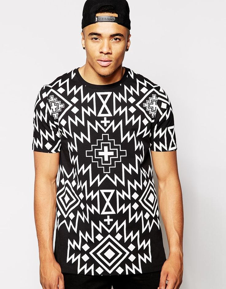 ASOS Longline T-Shirt With Aztec Print - that should be mine!