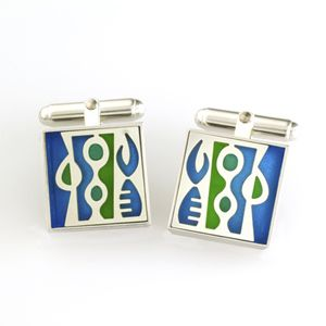 Sterling silver large square Victoria Varga cuff links with blue & green resin inlay. $185.00 www.victoriavarga.com