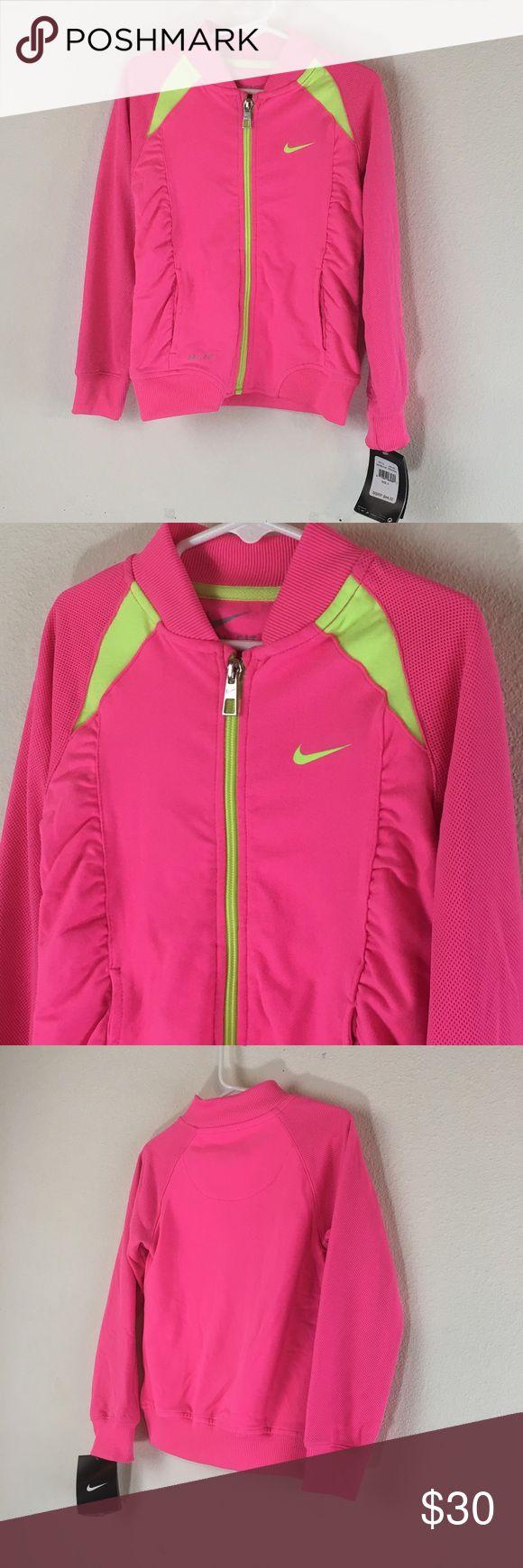 4T Nike Full Zip Jacket Full zip up Size 4 (little Girls)  Pink Scrunchy sides Dri-fit Nike Shirts & Tops Sweatshirts & Hoodies