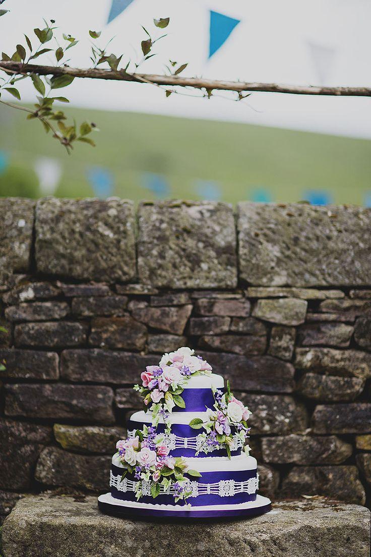 Creative wedding photography // Peak District wedding // DIY wedding // Purple wedding cake // By Inta Photography // http://intaphotography.com