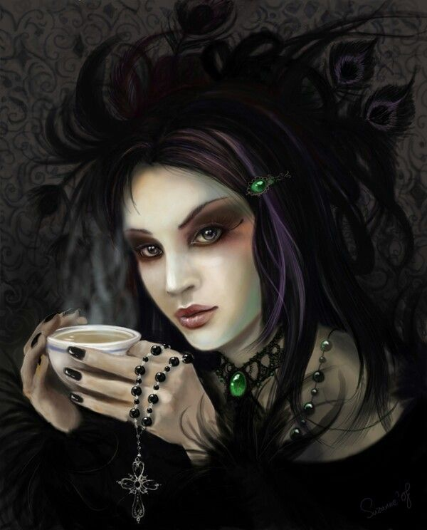 Image result for Gothic woman and coffee
