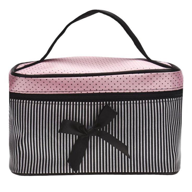 Kosmetik Tas Ikatan Simpul Stripe Dot Pencetakan Warna Panelled Satin Makeup Kotak Penyimpanan Gadis Kapasitas Besar Tas Estuche Maquillaje #6111