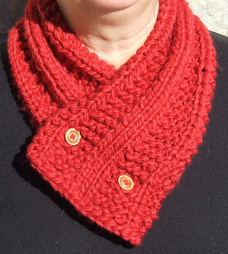 Knitted cowl - Short chunky scarf - Button up cowl - Short scarflette - Knitted neck warmer - Chunky red cowl with 4 button fastening by WoolieBits on Etsy