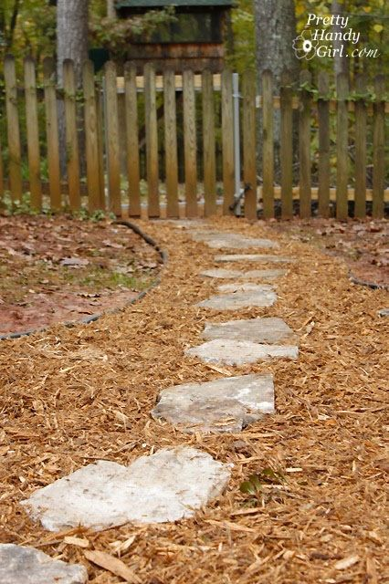 how to create an inexpensive mulch and stone walkway steps pinterest stone path garden. Black Bedroom Furniture Sets. Home Design Ideas