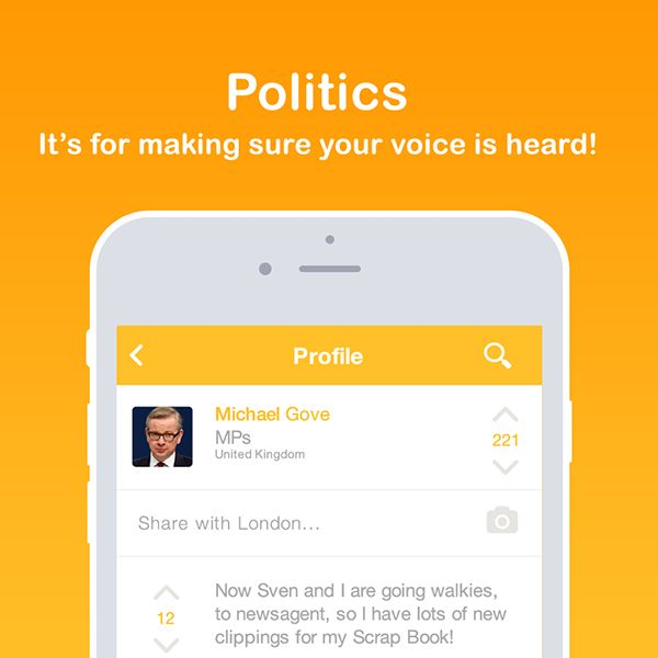 Get a live feed of how politicians are classified around you. Politics is for expressing yourself and learning with the community.