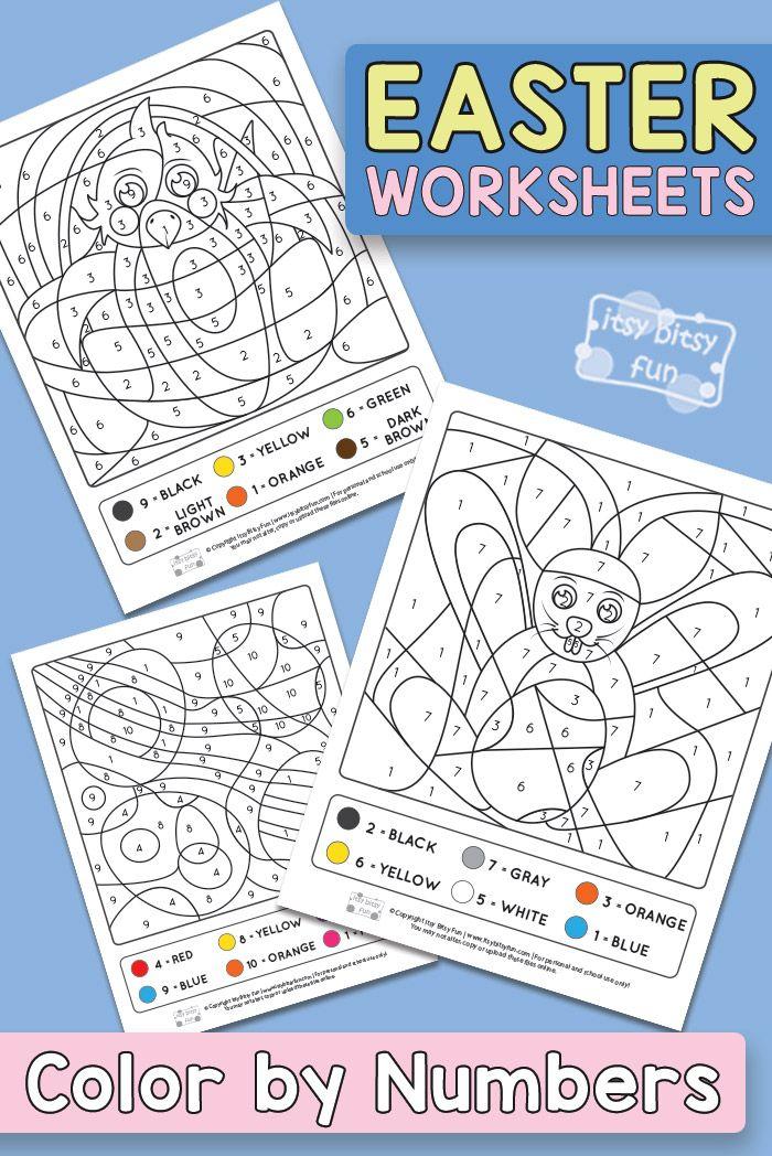 easter coloring by number worksheets easter easter colouring rh pinterest com