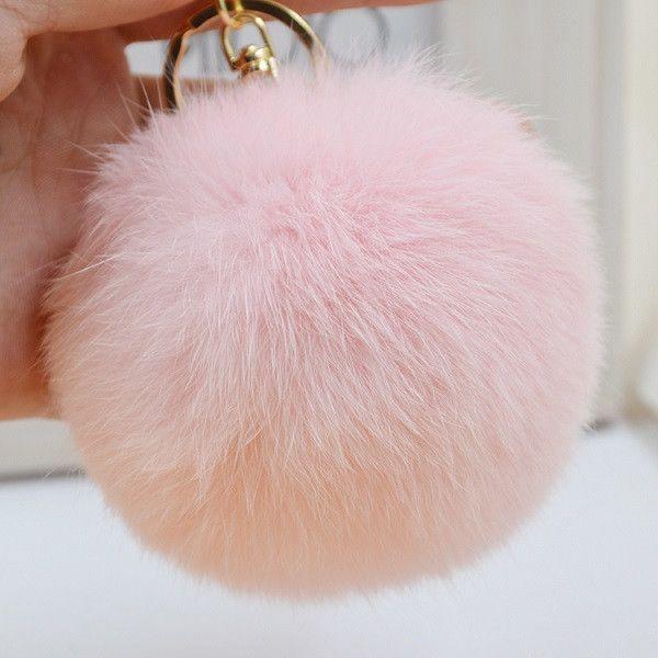Pom Pom Key Chain Real Rabbit Fur Ball Keychain Plush Fur