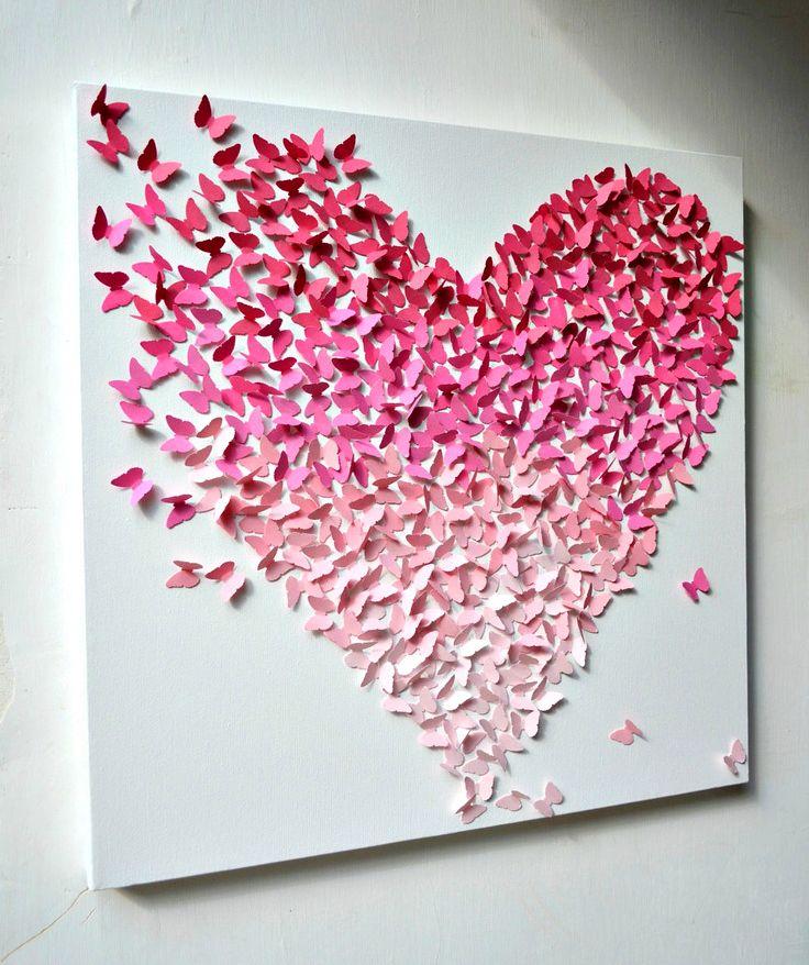 coeur papillons tableau