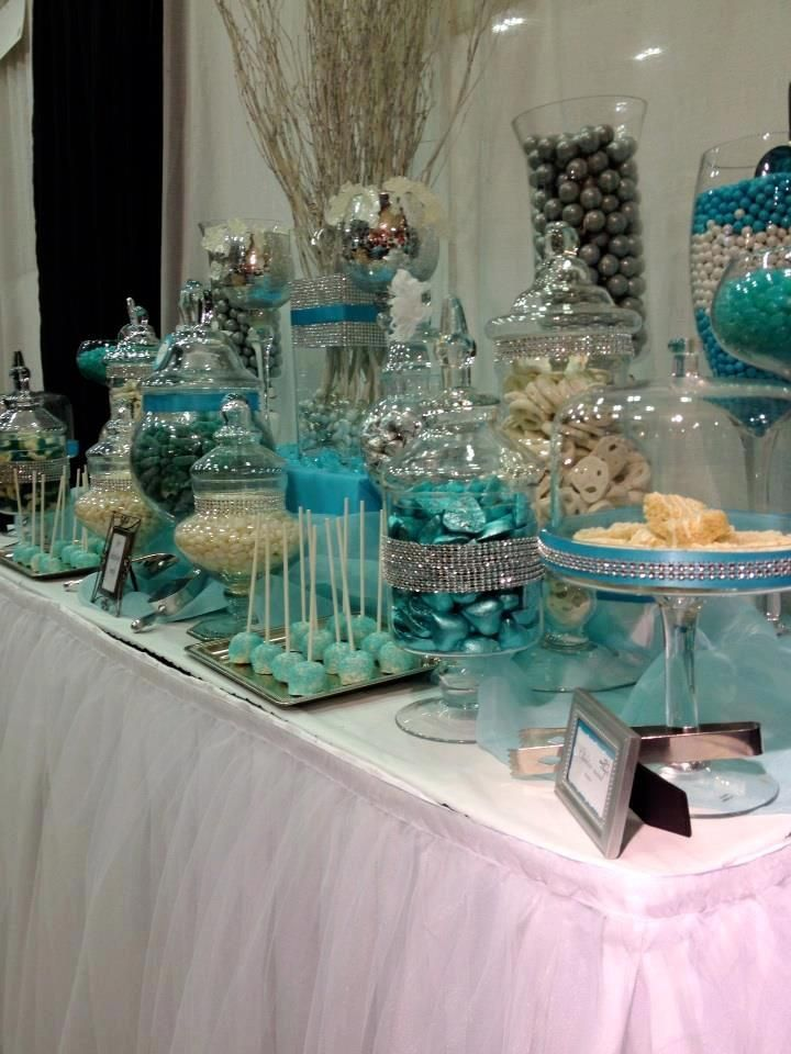 blue and white candy buffet tables