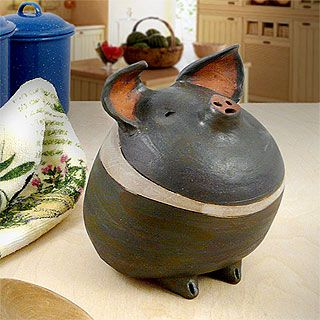Americana Barnyard Pig Ceramic Sculpture