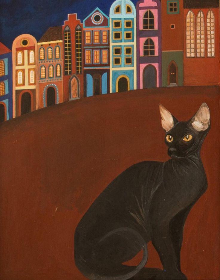 Kot Sfinks. Fragment obrazu Anioł w Oknie z Kotem.