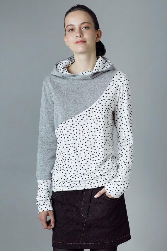 """Hoodie sweater """"ehrenpreis"""", grey dotted"""
