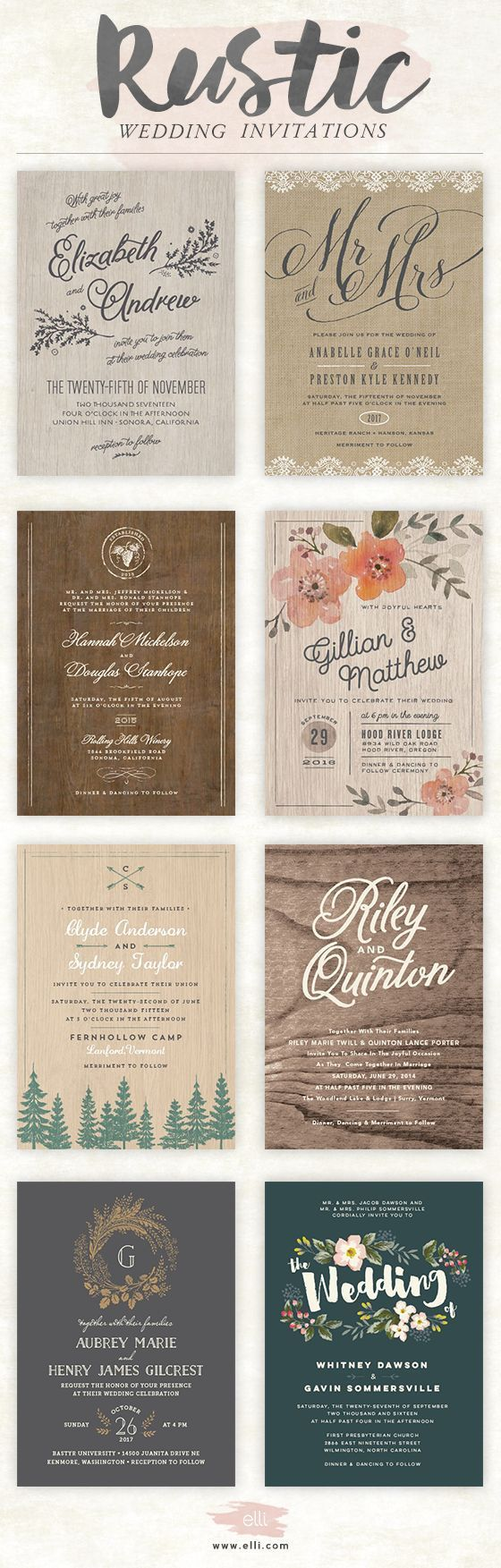 Rustic wedding invitations Bella Collina Weddings